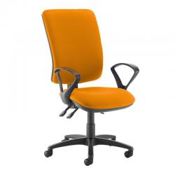 Cheap Stationery Supply of Senza extra high back operator chair with fixed arms - Solano Yellow Office Statationery