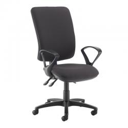 Cheap Stationery Supply of Senza extra high back operator chair with fixed arms - Blizzard Grey Office Statationery