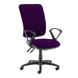 Cheap Stationery Supply of Senza extra high back operator chair with fixed arms - Tarot Purple Office Statationery