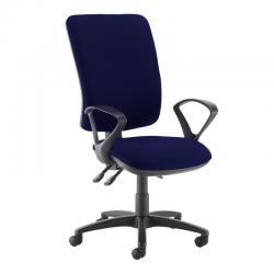 Cheap Stationery Supply of Senza extra high back operator chair with fixed arms - Ocean Blue Office Statationery