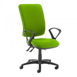 Cheap Stationery Supply of Senza extra high back operator chair with fixed arms - Madura Green Office Statationery