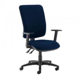 Cheap Stationery Supply of Senza extra high back operator chair with adjustable arms - Costa Blue Office Statationery