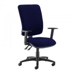 Cheap Stationery Supply of Senza extra high back operator chair with adjustable arms - Ocean Blue Office Statationery