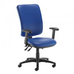 Cheap Stationery Supply of Senza extra high back operator chair with folding arms - Ocean Blue vinyl Office Statationery