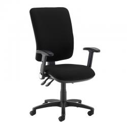 Cheap Stationery Supply of Senza extra high back operator chair with folding arms - Havana Black Office Statationery