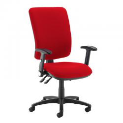 Cheap Stationery Supply of Senza extra high back operator chair with folding arms - Panama Red Office Statationery