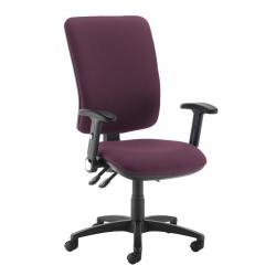 Cheap Stationery Supply of Senza extra high back operator chair with folding arms - Bridgetown Purple Office Statationery