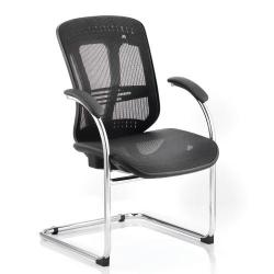 Cheap Stationery Supply of Adroit Mirage Cantilever Chair With Arms Mesh Black BR000092 Office Statationery