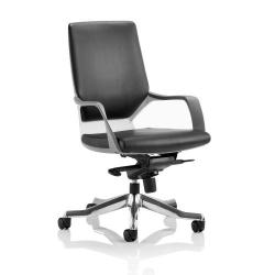 Cheap Stationery Supply of Adroit Xenon Executive With Arms Medium Back White Shell Leather Black EX000095 Office Statationery