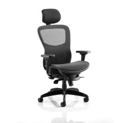 Cheap Stationery Supply of Adroit Stealth Shadow Ergo Posture Chair With Arms With Headrest Mesh Seat And Back Black KC0159 Office Statationery