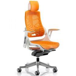 Cheap Stationery Supply of Adroit Zure White Frame Gel Head Rest Orange 565x520x450-550mm KC0165 Office Statationery