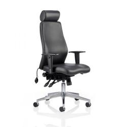 Cheap Stationery Supply of Adroit Onyx Posture Chair Head Rest Black Leather 450x470-540x590-640mm OP000098 Office Statationery