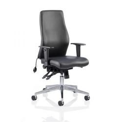 Cheap Stationery Supply of Adroit Onyx Posture Chair Black Leather 450x470-540x590-640mm OP000099 Office Statationery