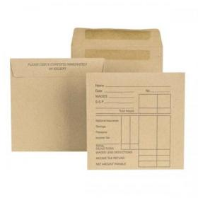 New Guardian Envelopes FSC Wage Pocket Self Seal Med Wght 80gsm 108x102mm Pre-Printed Manilla Pack of 1000