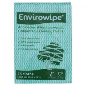Envirowipe Antibacterial Cleaning Cloths 500x360mm Green (Pack of 25) EWF152