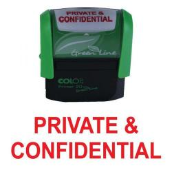 Cheap Stationery Supply of COLOP Green Line Word Stamp PRIVATE & CONFIDENTIAL Red P20GLPRI Office Statationery