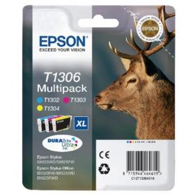 Epson T1306 Cyan/Magenta/Yellow Extra High Yield Inkjet Cartridge (Pack of 3) C13T13064010 / T1306