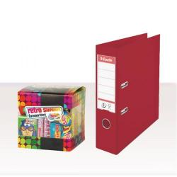 Cheap Stationery Supply of Esselte A4 PVC Lever Arch File 75mm Bordeaux (Pack of 10) with FOC Sweets ES810772 Office Statationery