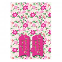 Cheap Stationery Supply of Pink Floral Gift Wrap and Tags (Pack of 12) 27243-2S2T Office Statationery