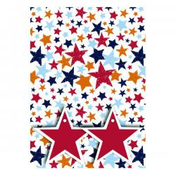 Cheap Stationery Supply of Star Print Gift Wrap and Tags (Pack of 12) 27240-2S2T Office Statationery