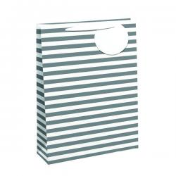 Cheap Stationery Supply of Striped Gift Bag Large White/Silver (Pack of 6) 26658-2 Office Statationery