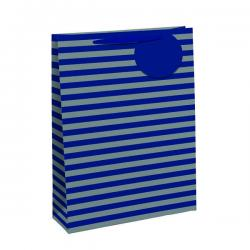 Cheap Stationery Supply of Striped Gift Bag Medium Blue/Silver (Pack of 6) 26655-3 Office Statationery