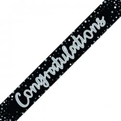 Cheap Stationery Supply of Congratulations Banner Black/Silver (Pack of 6) 6837-CONG Office Statationery
