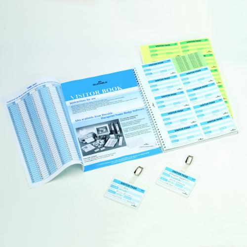 146465 Durable Visitor Book 100 Badge Refill 60x90mm 146465-146465 Office /&