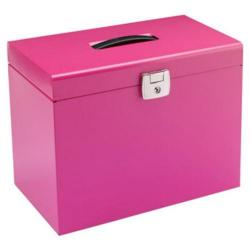 Cheap Stationery Supply of Value Metal File Box A4 Pink Office Statationery