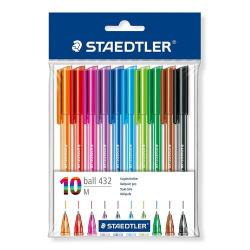 Cheap Stationery Supply of Staedtler Rainbow Ballpoint Pens Multicolour 0.5mm Line Pack of 10 Office Statationery