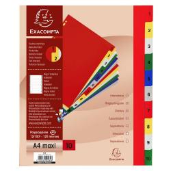 Cheap Stationery Supply of Exacompta 10 Part Printed Polypropylene Index A4 Extra Wide Office Statationery