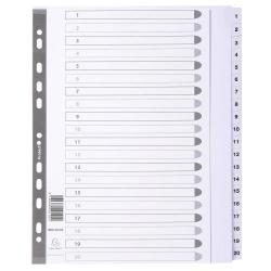 Cheap Stationery Supply of Guildhall 20 Part Printed Index Clear Mylar A4 Extra Wide Office Statationery
