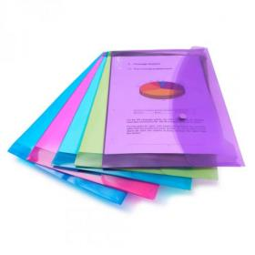 Rapesco Bright Popper Wallet Foolscap Assorted Colours Pack 5 29534RA