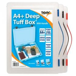 Cheap Stationery Supply of Tiger Tuff Box Polypropylene A4 Plus Deep Clear Office Statationery