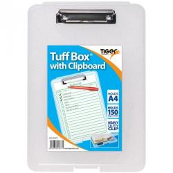 Cheap Stationery Supply of Tiger Tuff Box With Clipboard Polypropylene A4 Clear Office Statationery