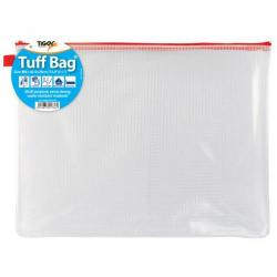 Cheap Stationery Supply of Tiger Tuff Bag Polypropylene B4 500 Micron Clear With Assorted Colour Zips Office Statationery