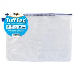 Cheap Stationery Supply of Tiger Tuff Bag Polypropylene A4 Plus 500 Micron Clear With Assorted Colour Zips Office Statationery