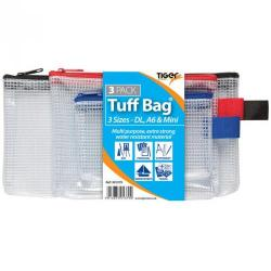 Cheap Stationery Supply of Tiger Tuff Bag Polypropylene Triple Pack of A6 Mini And Dl 500 Micron Clear With Assorted Colour Zips Pack 3 Office Statationery