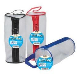 Cheap Stationery Supply of Tiger Tuff Bag Cylinder Pencil Case Polypropylene 550 Micron Clear With Assorted Colour Zips Office Statationery