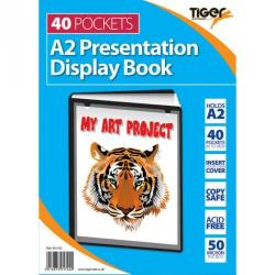 Cheap Stationery Supply of Tiger A2 Presentation Display Book 40 Pocket Black Office Statationery