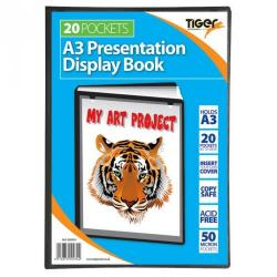 Cheap Stationery Supply of Tiger A3 Presentation Display Book 20 Pocket Black Office Statationery