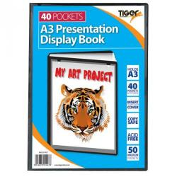 Cheap Stationery Supply of Tiger A3 Presentation Display Book 40 Pocket Black Office Statationery