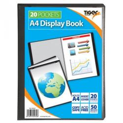 Cheap Stationery Supply of Tiger A4 Presentation Display Book 20 Pocket Black Office Statationery