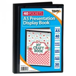 Cheap Stationery Supply of Tiger A5 Presentation Display Book 40 Pocket Black Office Statationery