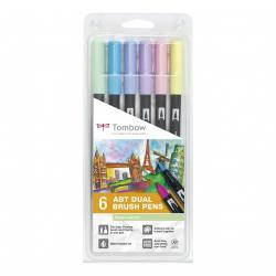 Cheap Stationery Supply of Tombow Abt Dual Brush Pen 2 Tips Pastel Colours Pack of 6 Office Statationery