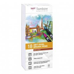 Cheap Stationery Supply of Tombow Abt Dual Brush Pen 2 Tips Earth Colours Pack of 18 Office Statationery
