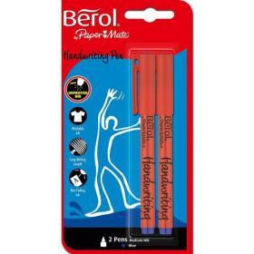 Berol Handwriting Pen 0.6mm Line Black (Pack 2)