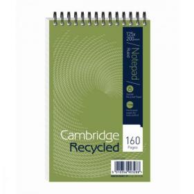Cambridge Recycled Reporters Notebook 70gsm Ruled and Perforated 160pp 125x200mm Ref 100080468 Pack of 10