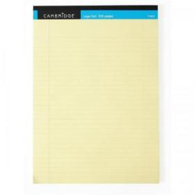 Cambridge Legal Pad Headbound Ruled Margin Perforated 100pp A4 Yellow Paper Ref 100080179 Pack of 10
