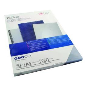 GBC HiClear A4 Binding Cover 250 Micron Clear (Pack of 50) 41605E